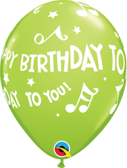 "Happy Birthday To You Music Notes Fashion Lime Green 11"" Balloons"