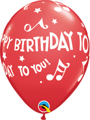 Happy Birthday To You Music Notes Red 11 in Balloons