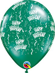 "Happy Birthday-A-Round Jewel Emerald Green 11"" Balloons"