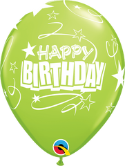 "Happy Birthday Loops & Stars Pearl Lime Green 11"" Balloons"