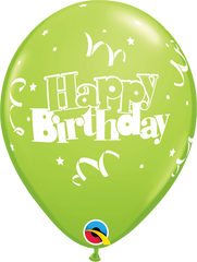 "Happy Birthday Streamers & Stars Fashion Lime Green 11"" Balloons"
