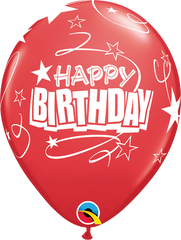 "Happy Birthday Loops & Stars Pearl Ruby Red 11"" Balloons"
