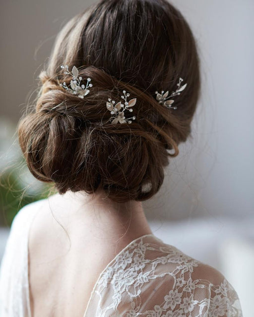Silver Floral Bridal Hair Pin