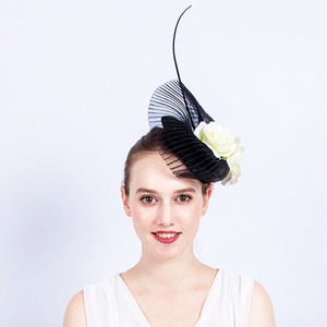 Black Coral Fan Flower Fascinator - Youthly Labs