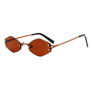 The Colorful Rimless Hexagon Sunglasses Brown - Youthly Labs