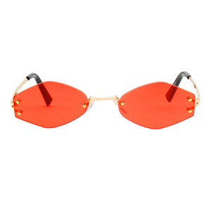 The Colorful Rimless Hexagon Sunglasses Red - Youthly Labs