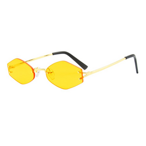 The Colorful Rimless Hexagon Sunglasses Yellow - Youthly Labs