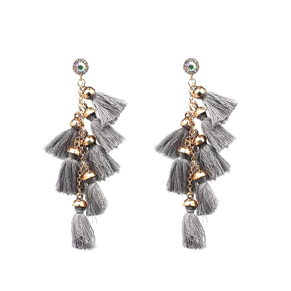 Gray Tassel Earrings - Youthly Labs