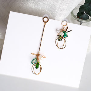 Asymmetrical Green Gold Drop Earrings - Youthly Labs