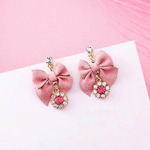 Bowtie Pink Red Stone Earrings - Youthly Labs