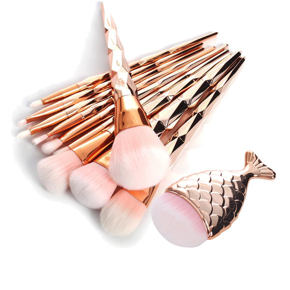 11 Pcs Diamond Rose Gold Makeup Brush Set