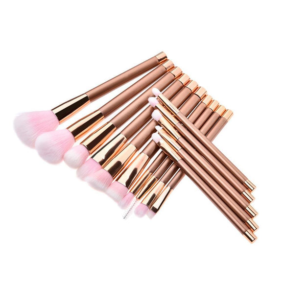 15 Pcs Professional Rose Gold Make Up Brush Set