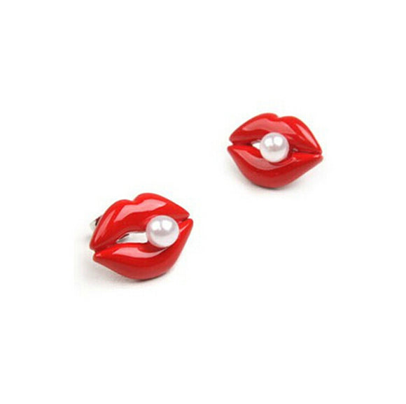 Fashion Stud Lip Shape With Pearl Ladies Cute Red Earring