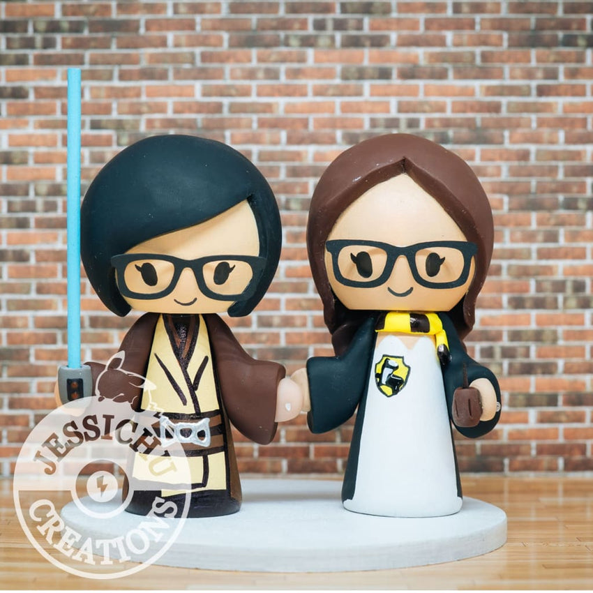 Jedi and Harry Potter LGBT Wedding Cake Topper | Star Wars x HP | Jessichu Creations