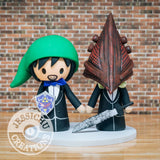 Link and Pyramid Head LGBTQ Wedding Cake Topper | Nintendo Zelda x Silent Hills | Jessichu Creations