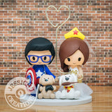 Captain America and Wonder Woman Wedding Cake Topper | Marvel x DC | Jessichu Creations