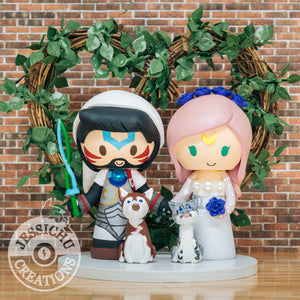 Fierce Deity Link Groom & Princess Serenity Custom Handmade Figurine Wedding Cake Topper | Legend of Zelda x Sailor Moon | Jessichu Creations