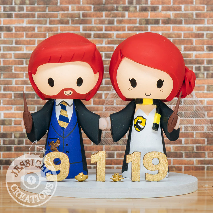 Harry Potter Couple Ravenclaw and Hufflepuff Wedding Cake Topper | HP | Jessichu Creations