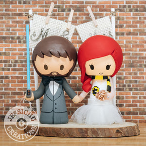 Jedi Groom & Hufflepuff Bride Wedding Cake Topper | Star Wars x Harry Potter | Jessichu Creations