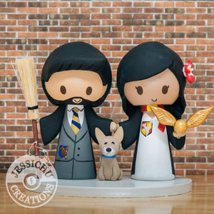 Harry Potter Quidditch Couple Wedding Cake Topper | HP | Jessichu Creations