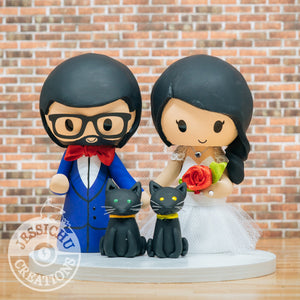 Bride & Groom Custom Handmade Wedding Cake Topper Figurines | Jessichu Creations