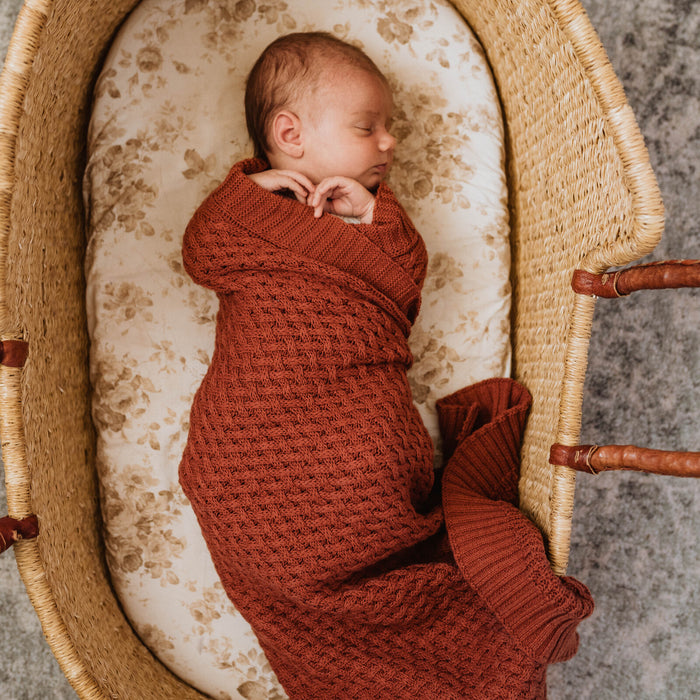 Snuggle Hunny Kids Diamond Knit Baby Blanket - Umber