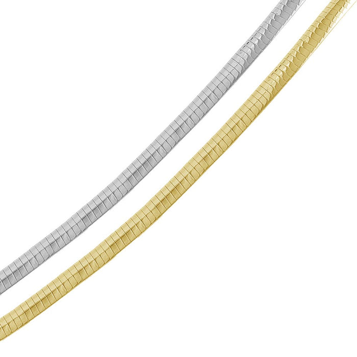 STERLING SILVER 2 TONED REVERSIBLE FLAT OMEGA CHAIN