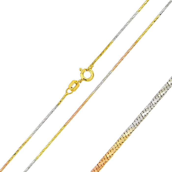 STERLING SILVER TRI-COLOR PLATED SNAKE DIAMOND CUT SLASH MULTI COLOR CHAIN