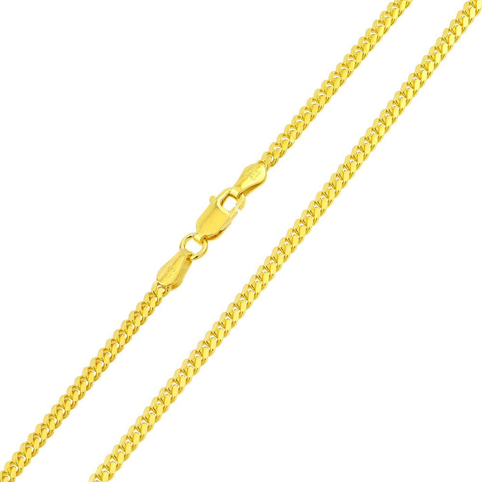 STERLING SILVER GOLD PLATED MIAMI CURB LINK CHAIN