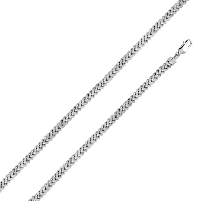 STERLING SILVER RHODIUM PLATED HOLLOW FRANCO CHAIN