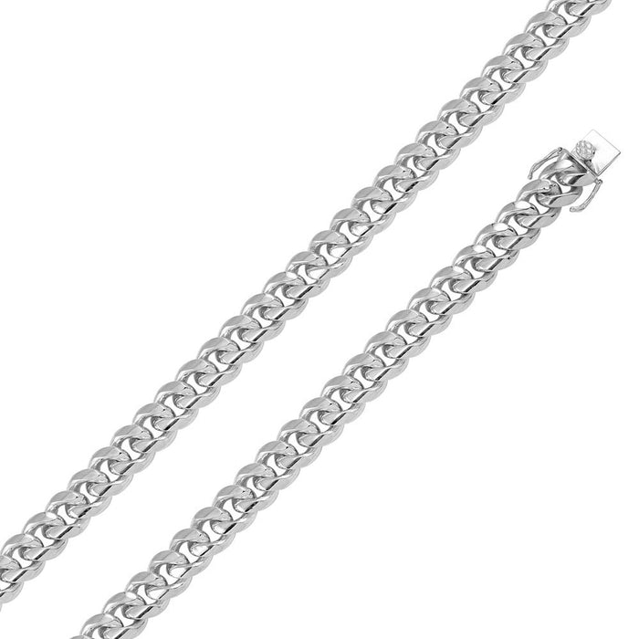 STERLING SILVER RHODIUM PLATED MIAMI CURB CHAIN