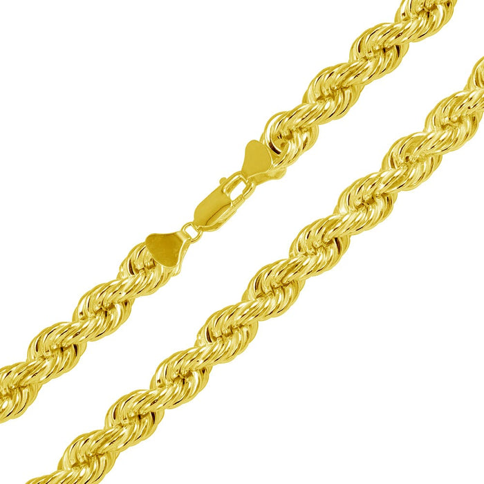 STERLING SILVER GOLD PLATED HOLLOW ROPE CHAIN