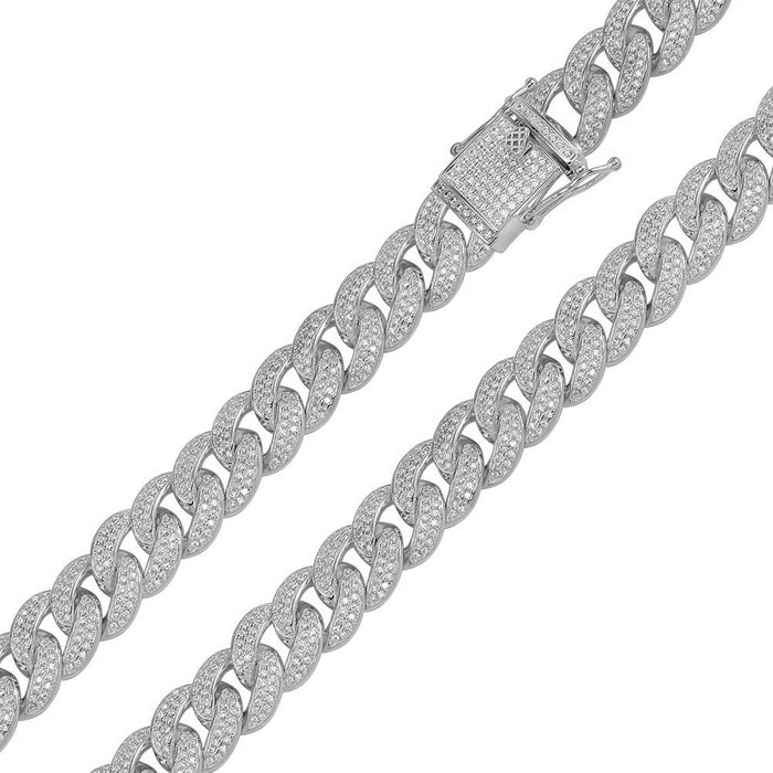STERLING SILVER CZ ENCRUSTED CURB CHAIN
