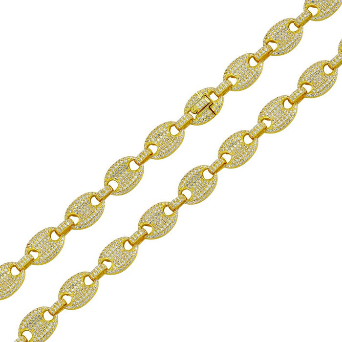 STERLING SILVER GOLD PLATED CZ ENCRUSTED OVAL LINK CHAIN