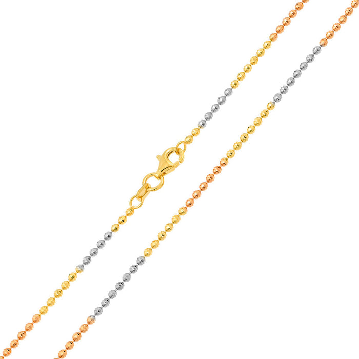 STERLING SILVER TRI COLOR PLATED DIAMOND CUT JIANZHI CHAIN