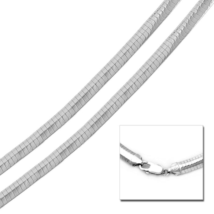 STERLING SILVER HIGH POLISHED FLAT OMEGA CHAIN