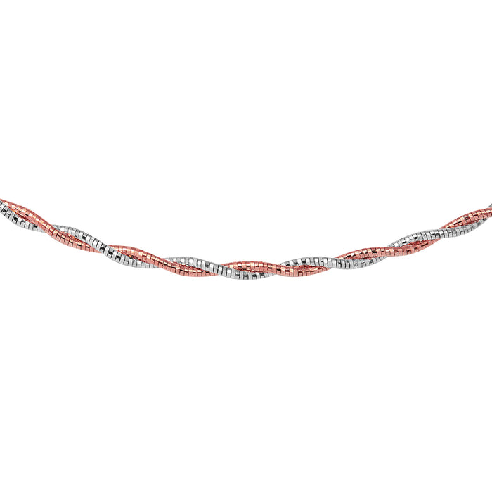 STERLING SILVER 2 TONED 2 LAYER OMEGA SPRING RHODIUM AND ROSE GOLD PLATED CHAIN