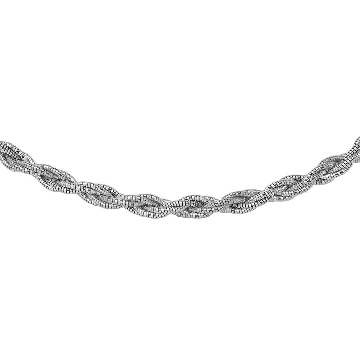 STERLING SILVER 6 LAYER TWISTED OMEGA SPRING RHODIUM PLATED CHAIN