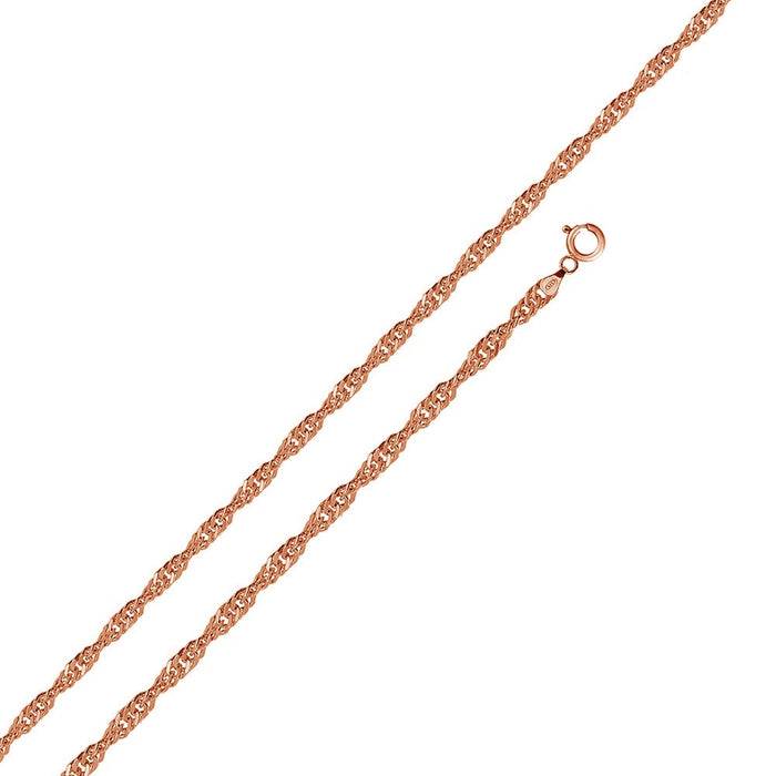 STERLING SILVER ROSE GOLD PLATED SINGAPORE 020 CHAIN