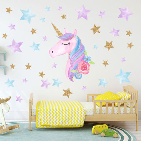 OnDecal Fantasy Unicorn Stars Wall Decals