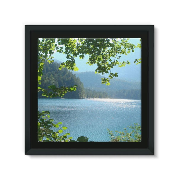 Calm Water Lake In Forests Framed Canvas 12X12 Wall Decor