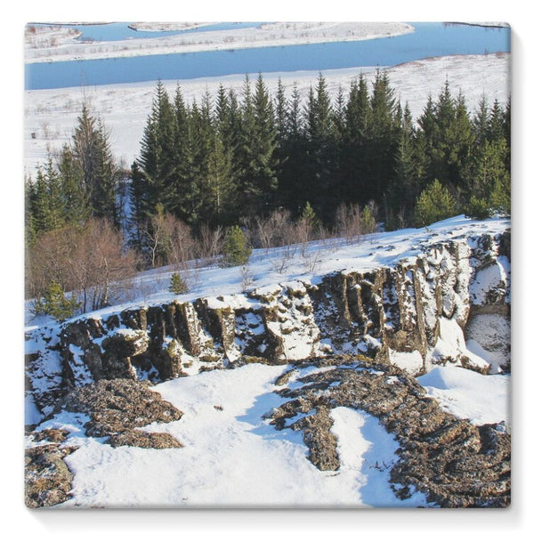 Ice Frozen On Rocky Mountain Stretched Canvas 10X10 Wall Decor