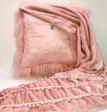 Pink Mongolian Wool Pillow Throw & Tuck