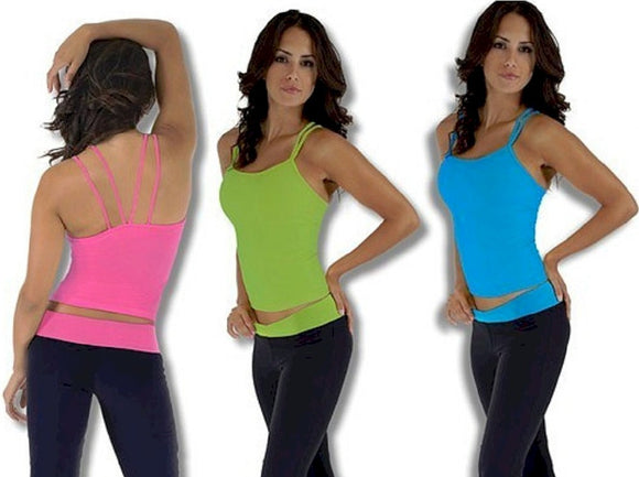 Marble Double V Back Tank Top by Nina Bucci Activewear