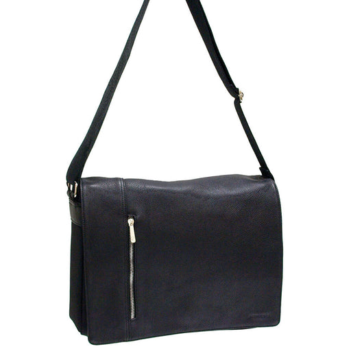 Pierre Cardin Black Leather/Nylon Laptop Bag PC10615