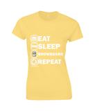 "Funky Yeti Ladies T-Shirt ""Eat Sleep Snowboard Repeat"""