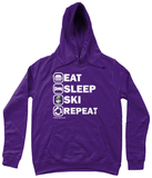 "Funky Yeti Women's Hoodie ""Eat Sleep Ski Repeat"""
