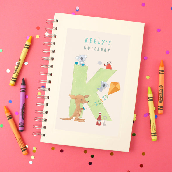 Personalised Illustrated Alphabet Letter K Children's Notebook