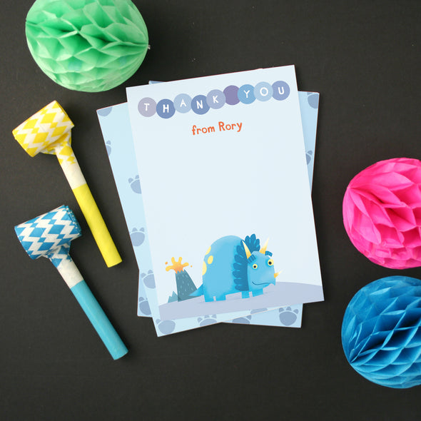 Personalised Dinosaur Thank You Cards With Triceratops Design