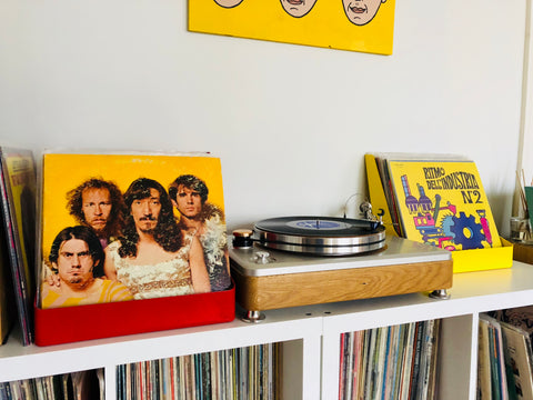 zappa library music vinyl record display and turntable